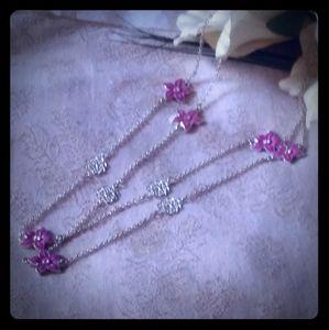 Vintage Pink Enamel Flower Station Necklace